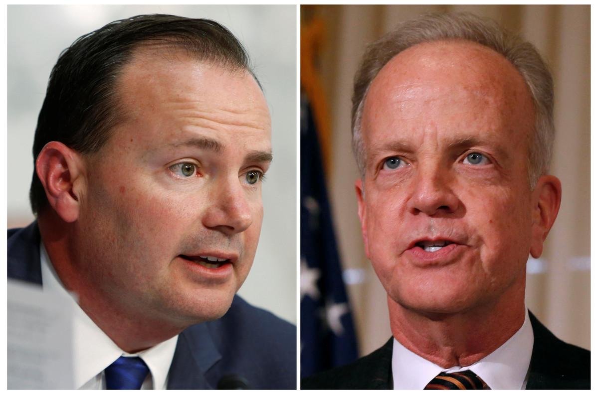 Los senadores republicanos que han rechazado la reforma sanitaria de Trump: Miike Lee (izquierda) y Jerry Moran.