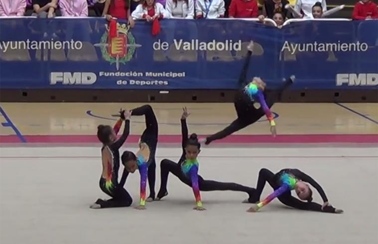 El brillante ejercicio de las campeonas de España de gimnasia rítimica benjamín