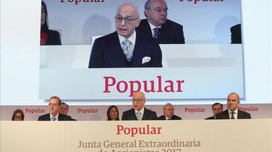 El vicepresidente de Banco Popular, Roberto Higuera, se dirige a la Junta de Accionistas en representación del consejo de administración de la entidad.