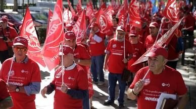 Concentraci�n de jubilados de UGT este jueves en Madrid, con motivo del D�a Internacional del Mayor.
