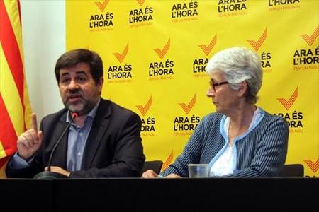 Los presidentes de la ANC, Jordi S�nchez, y �mnium Cultural, Muriel Casals.