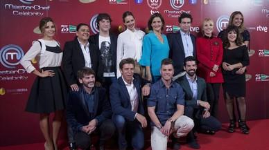 El jurado y los concursantes del nuevo concurso de TVE-1 'Masterchef Celebrity', en la presentaci�ndel programa en Madrid.