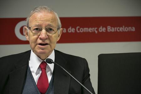 El presidente de la Cambra de Comer� de Barcelona, Miquel Valls, en rueda de prensa.
