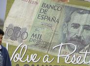 Valla publicitaria a favor de la vuelta a la peseta en Salvaterra (Pontevedra).