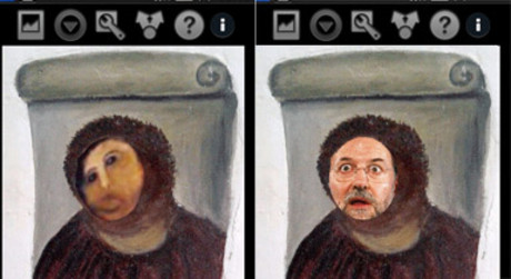 Dos imgenes de la app 'Restaura tu Ecce Homo'.