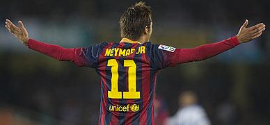 Neymar protesta durante el partido Real Sociedad-Barça.