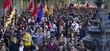 Aspecto de la manifestación del Primero de Mayo de este año en Barcelona.