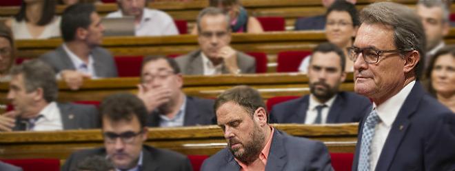El presidente Mas, en el Parlament, este lunes.