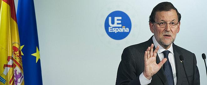 Rajoy durante la comparecencia ante la prensa.