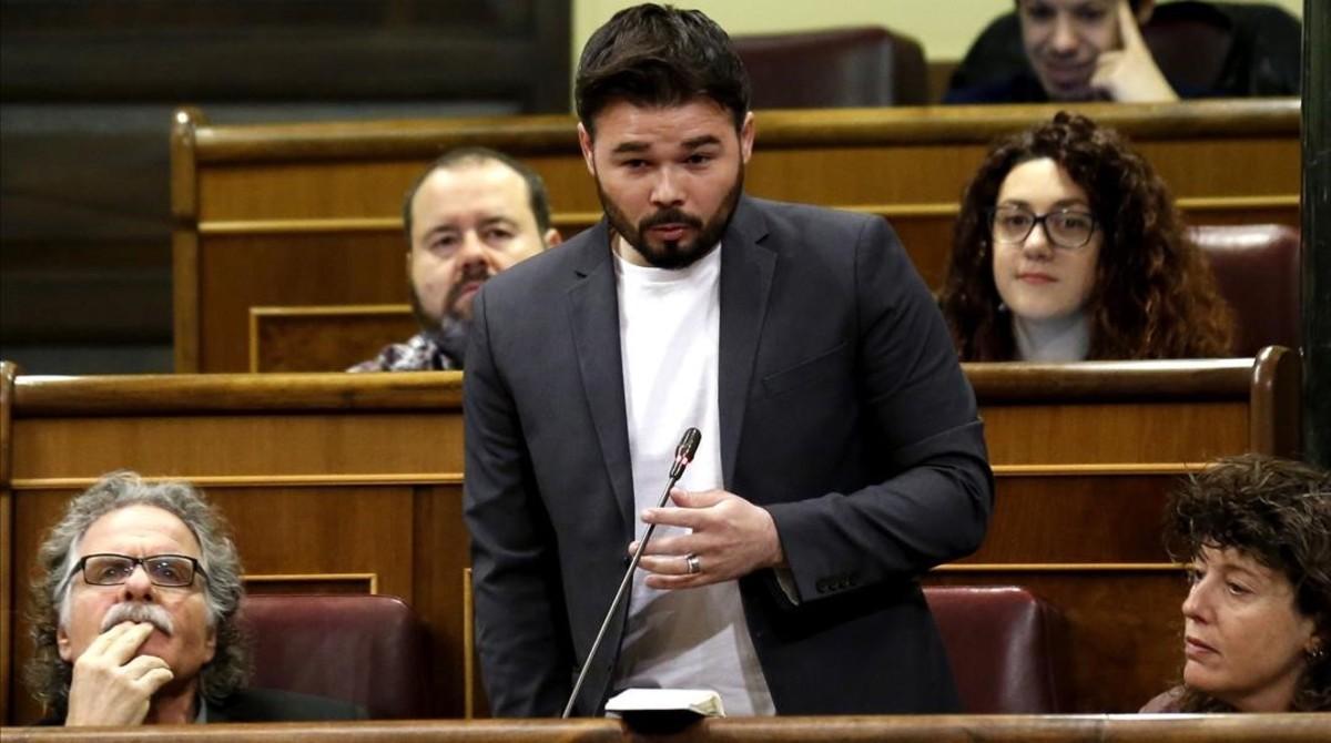 Gabriel Rufián, este miércoles, en la sesión de control al Gobierno en el Congreso.