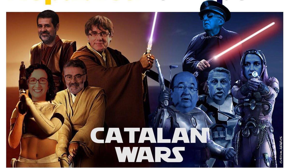 Uno de los memes que vincula Star Wars y el procés.