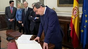 El fiscal general del Estado, Julián Sánchez Melgar, preside por primera vez la reunión del pleno del Consejo Fiscal.