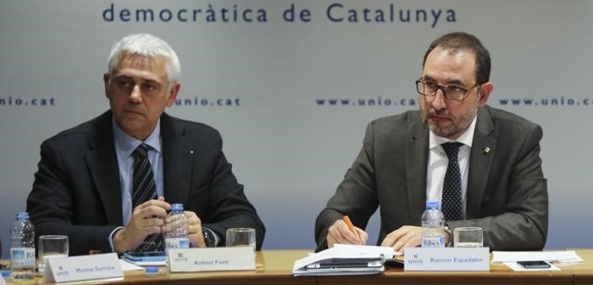 Antoni Font y Ramon Espadaler, en la ejecutiva de Uni� del pasado 9 de marzo.
