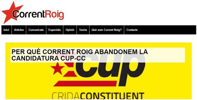 El anuncio de la ruptura, en la web de Corrent Roig.