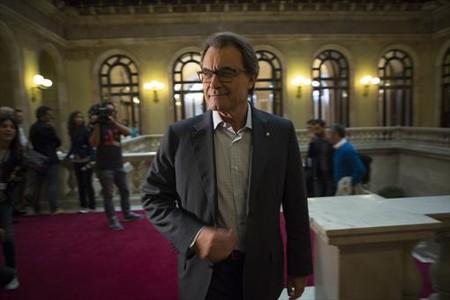 Artur Mas asiste a una reuni�n de Junts pel S� en el Parlament, el pasado jueves.