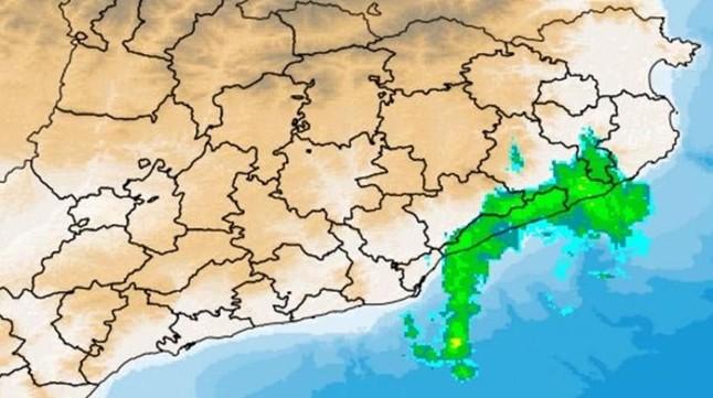 Radar del Servei Meteorol�gic de Catalunya con las lluvias registradas a mediod�a enel Maresme.