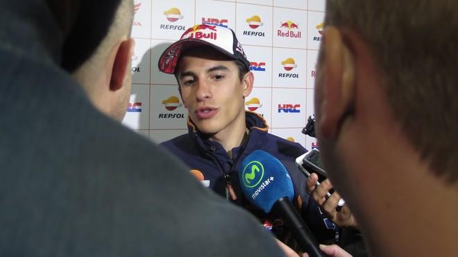 Marc M�rquez atiende a los informadores en Le Mans