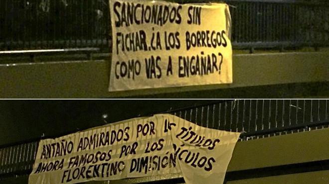 Pancartes contra Florentino a Madrid després de la sanció de la FIFA