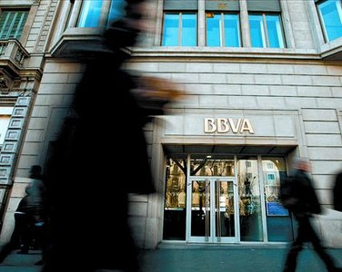 Imagen de una oficina del BBVA en el paseo de Grcia.