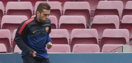 Jordi Alba, en un entrenamiento del Bara.