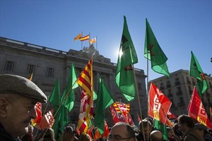 Protesta de funcionarios en noviembre del 2015 en la plaza de Sant Jaume.