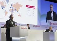 �ngel Ron, presidente del Banco Popular, en la junta general de accionistas celebrada ayer en Madrid.