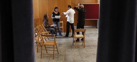 Anna Gabriel y Antonio Ba�os, en el centro, el jueves antes de la conferencia de la CUP en Barcelona.