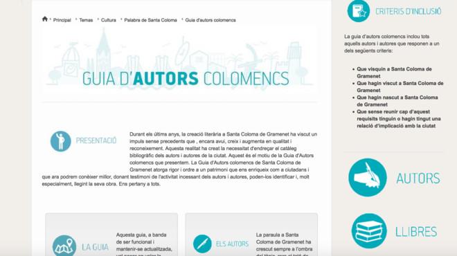 Visualizaci�n de la gu�a de autores locales digital de Santa Coloma de Gramenet.