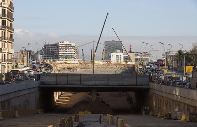 Imagen del túnel de Glòries desde el lado Llobregat, el pasado mes de diciembre.