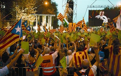 Imagen de la manifestación independentista de ayer, en Marquès de l'Argentera.