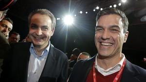 Pedro Sánchez y José Luis Rodríguez Zapatero, el pasado miércoles en el congreso de UGT.