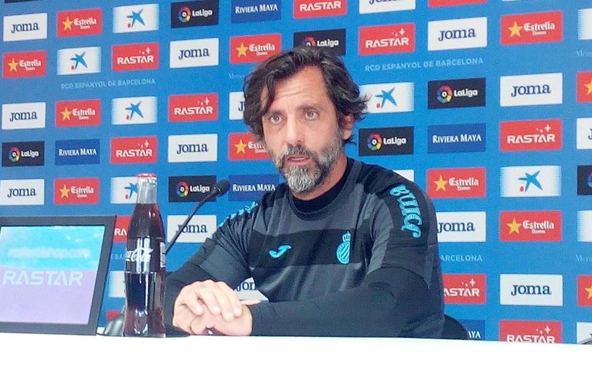 Quique Sánchez Flores, en la rueda de prensa previa al duelo liguero del Espanyol.