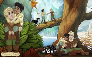 Promise Land tiene todos los elementos de un cuento: aventura, héroes, villanos e incluso una simpática mascota. Además, los protagonistas son dos chicos que se enamoran.