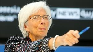Christine lagarde, la directora del Fondo Monetario Internacional, en una comparecencia este mes de abril.