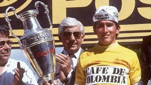 Lucho Herrera, en Madrid, cuando se proclamó campeón de la Vuelta a España, en 1987.