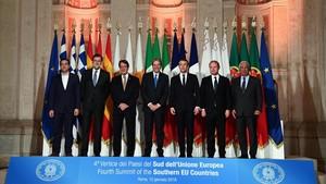 Foto de familia de los siete mandatarios del EUMed, en Roma, el 10 de enero.