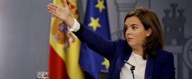 La vicepresidenta Soraya S�enz de Santamar�a, este viernes, en la rueda de prensa tras el Consejo de Ministros.