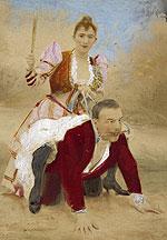 Fotograf�a coloreada de una escena de dominaci�n, de finales del siglo XIX