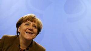 Comparecencia de la cancellera Angela Merkel en Berlín.