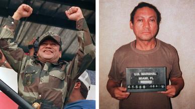 Auge y caída de Noriega: a la izquierda, cuando estaba al frente del Gobierno de Panamá, en 1988, y a la derecha, encarcelado en EEUU, en 1990.