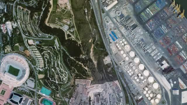 Montjuïc i la Ronda Litoral, vistos des de l'espai