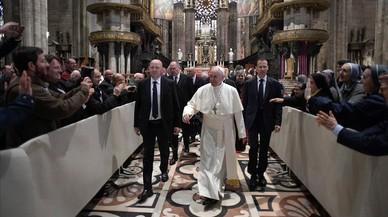 El Papa Francisco este sábado en la catedral de Milán.