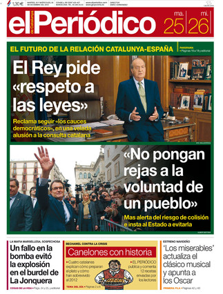 """""""El Rey pide """"respeto a las leyes"""""""", en la portada de EL PERIÓDICO"""
