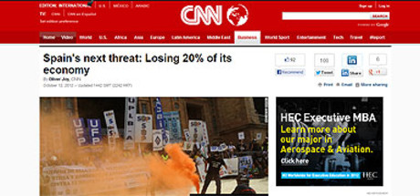Captura de la web de la CNN en la que aparece el artculo sobre Espaa.