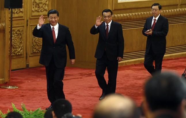 La cúpula del régimen chino: de izquierda a derecha el presidente Xi Jinping, Li Keqiang y Zhang Dejiang, en noviembre del 2012, durante el congreso del Partido Comunista de China.