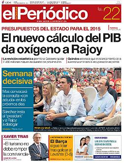 'El nuevo c�lculo del PIB da ox�geno a Rajoy', en la portada de EL PERI�DICO DE CATALUNYA