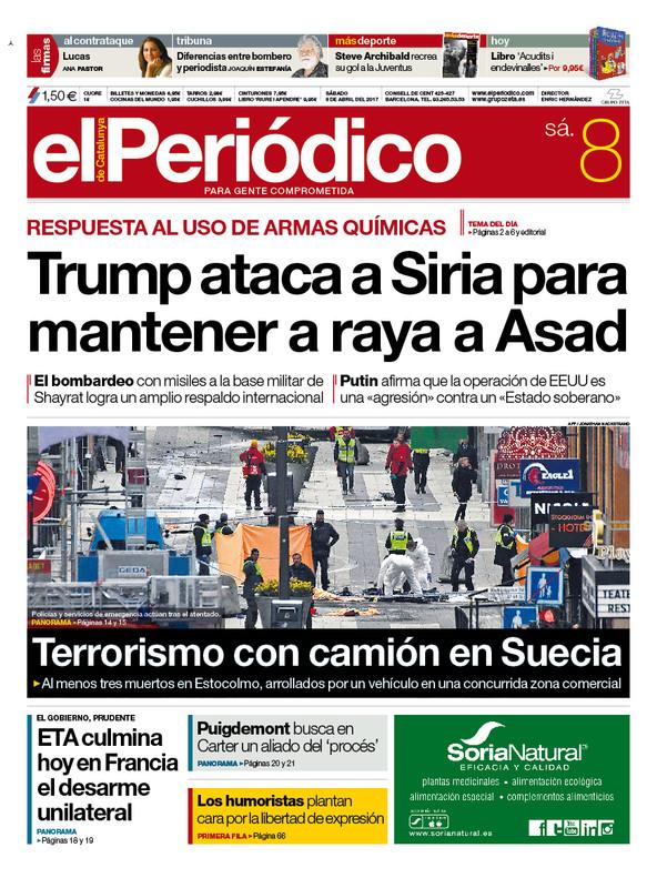 la portada de el peridico del de abril del