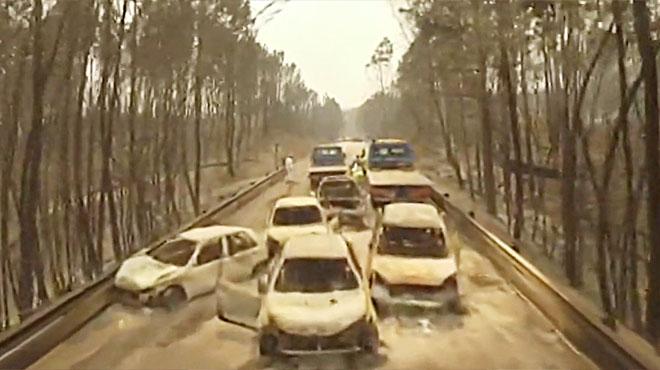 Las consecuencias del incendio de Portugal, a vista de dron.