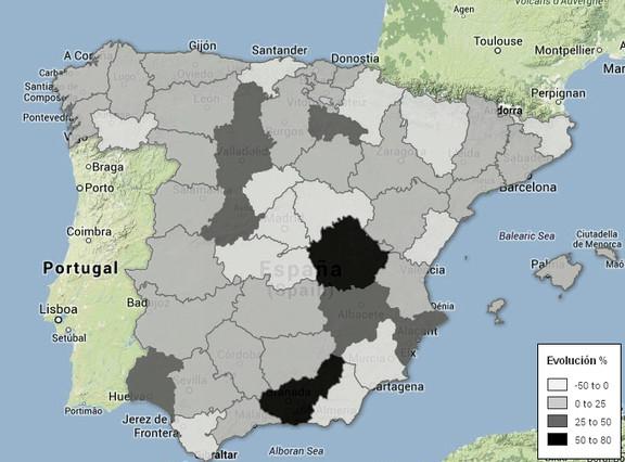 Mapa de suicidios desde el inicio de la crisis