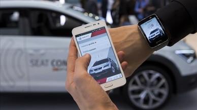 Presentaci�n de la aplicaci�n de coche conectado de Seat en el Mobile World Congress de Barcelona.